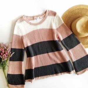 Gap | Blush Pink Striped Bell Sleeve Sweater Small